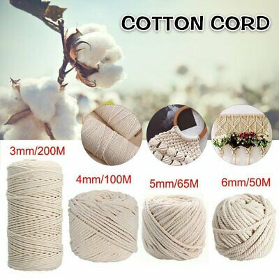 AU14.50 • Buy 3/4/5/6mm Natural Cotton Rope Cord String Twisted Beige Craft Macrame Artisan AU