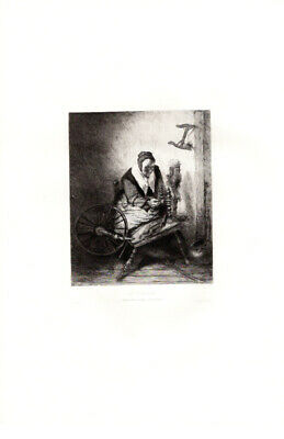 $40 • Buy Fileuse By Maas WOMAN With SPINNING WHEEL / Etching Antique Art Print [Inv#HB125