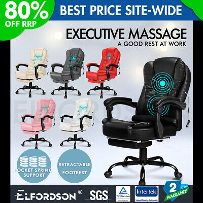 ELFORDSON Massage Office Chair With Footrest Executive Gaming Seat PU Leather • 109.90£