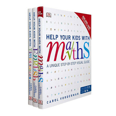 Carol Vorderman 3 Books Collection Set Help Your Kids With Maths, English, Times • 19.99£