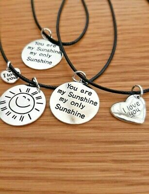 £1.95 • Buy  You Are My Sunshine  Double Design &  I Love You  Charms Black Cord  Necklace