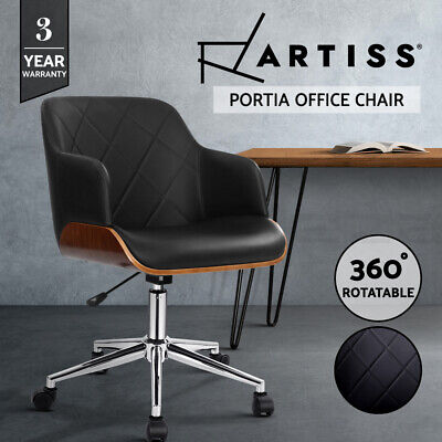 AU199 • Buy Artiss Wooden Office Chair Computer PU Leather Desk Chairs Executive Black Wood