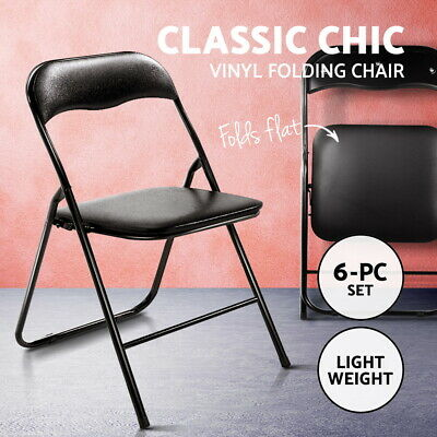 AU59.95 • Buy Office Folding Chair Camping 6x Vinyl Portable Metal Dining Chairs Event Black