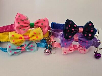 Polka Dot Small Dog Puppy Collar Bow Tie Bell Cat Kitten Quick Release Collars • 2.49£