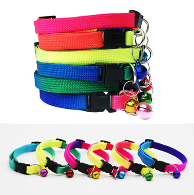 Rainbow Neon Rave Hi-Vis Puppy Cat Collar Multi Colour Bell Adjustable Small Dog • 2.29£