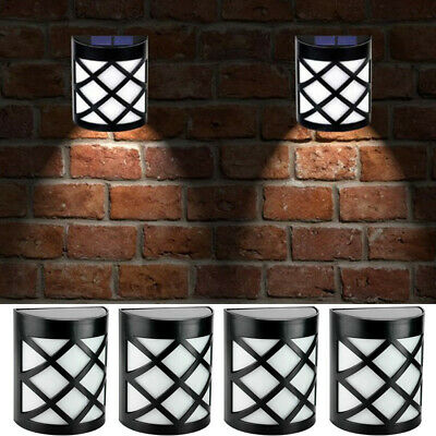 4 X LED Solar Powered Fence Wall Lights Garden Lamp Step Path Decking Outdoor UK • 13.99£