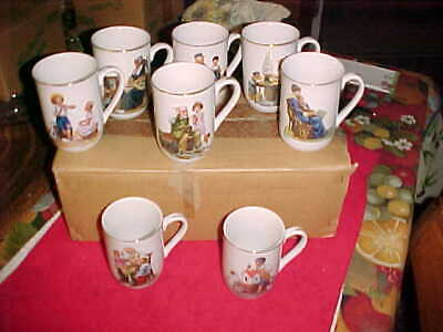 $ CDN25.33 • Buy Vintage Norman Rockwell Museum Collection 1982 Set 8 Coffee Cups Mugs New In Box