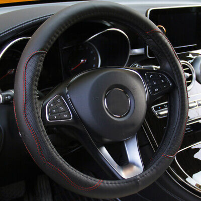 15 /37-38CM Car Interior Steering Wheel Cover Accessories Black & Red PU Leather • 11.69£