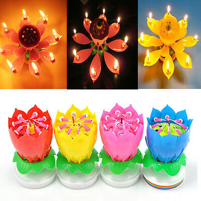 $ CDN9.85 • Buy ROTATING Lotus Candle Birthday Flower Musical Floral Cake Candles /w Music Magic