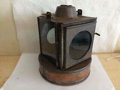 Unusual 3 Glass Great Western / Br Railway Copper Base Oil Signal Lamp • 56.40£