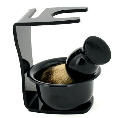 3 In 1 Mens Shaving Set - Badger Hair Brush - Soap Mugs - Acrylic Stand Holder • 10.29£