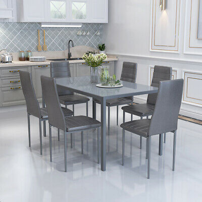 £219.90 • Buy Grey Glass Dining Table And 6 Chairs Faux Leather Set Dinning Room Furniture NEW