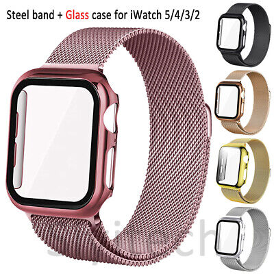 $ CDN15.54 • Buy IWatch Strap For Apple Watch SE/6/5/4/3 Steel Band+Glass Case Cover 40/42/44mm