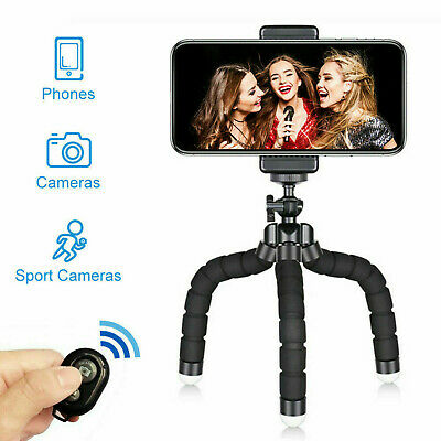 Universal Mobile Phone Tripod Stand Grip Holder Mount Bluetooth Remote Shutter • 6.99£