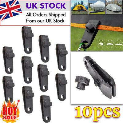 10pcs Reusable Tent Tarp Tarpaulin Clips Clamp Buckle Camping Tool Heavy Duty UK • 8.41£