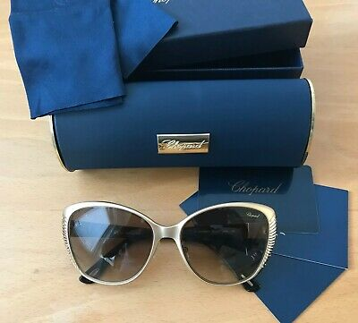 £120 • Buy Chopard Sunglasses New Gold Frame Brown Lenses