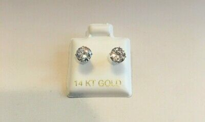 $118.22 • Buy 2 Cts Round Flawless Man Made Diamond Stud Earrings 14k Solid White Gold