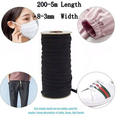 AU11.54 • Buy 6-3mm Flat Elastic Stretch Cord Mask Sewing Black And White 200-5m Long AU Stock