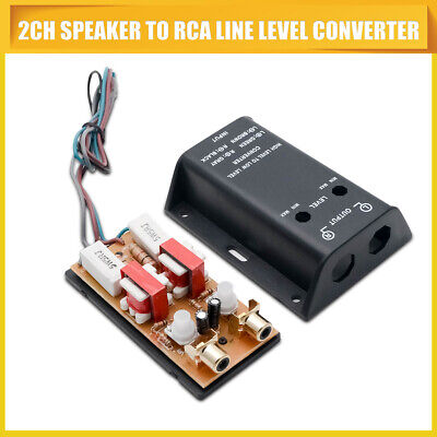 Car Stereo Audio RCA Speaker High To Low Level Line Output Converter & Wiring UK • 11.10£