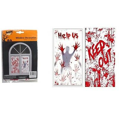 2 X 76 X 120cm Halloween Window Covers Trick Treat Party Decoration Banner Blood • 1.89£