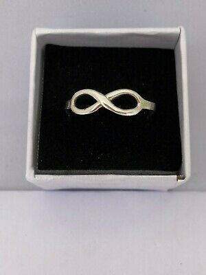 Solid Silver 925 Ladies Ring Infinity UK Handmade Size Available+ Gift Bag • 14.99£