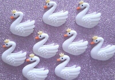 5/10 Resin Embellishments SWAN Queen Flatback Cabochon 25x25mm • 2.75£