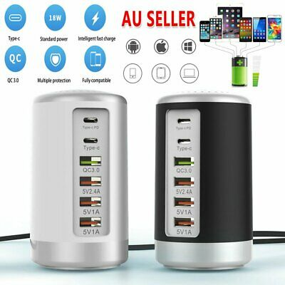 AU28.89 • Buy 6 Port 65W USB Fast Charger HUB Quick Charge QC3.0 Type C PD Charging Station