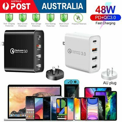 AU17.32 • Buy QC3.0 48W PD Fast Charging Charger Multi USB Type C Wall AU Plug Adapter 4 Port