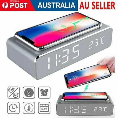 AU28.89 • Buy LED Smart Alarm Clock Wireless Phone Charger Qi Wireless Charging Pad Station