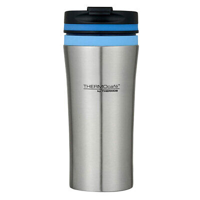 AU16.05 • Buy Cafe 380ml Vacuum Insulated Stainless Steel Drink Tumbler/Mug Blue Trim Thermos