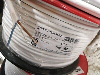 10meter PRYSMIAN FP200 Gold 1.5mm 2core & Earth Fireproof Cable LSOH 10 White - • 15£