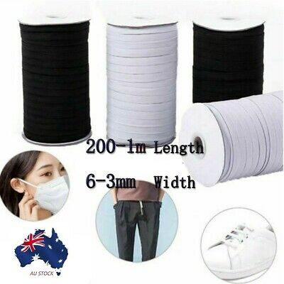 AU12.18 • Buy 200-1m Length Flat Elastic Stretch Cord Face Mask Sewing/Craft/Masks 6-3mm Width