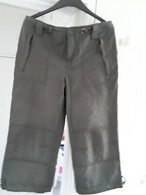 Ladies Girls Khaki Cropped Trousers Size Uk 12 • 1£