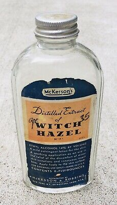 $15 • Buy McKessons Witch Hazel Glass Bottle Medical Pharmacy Apothecary Vintage