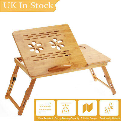 Bamboo Portable Foldable Laptop Notebook Tray Table Home Desk Adjustable Stand • 20.39£