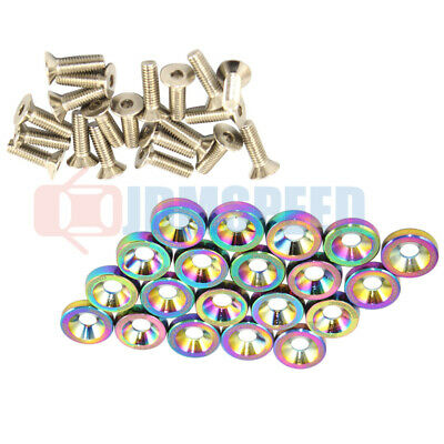 $10.88 • Buy 20 Pcs Neo Chrome Aluminum Fender/Bumper Washer/Bolt Engine Bay Dress Up Kit