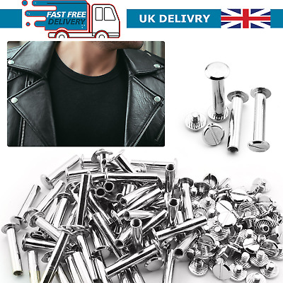 £5.19 • Buy Belt Rivets Chicago Screws Flat Extra Long Durable Silver For Leathercrafts DIY