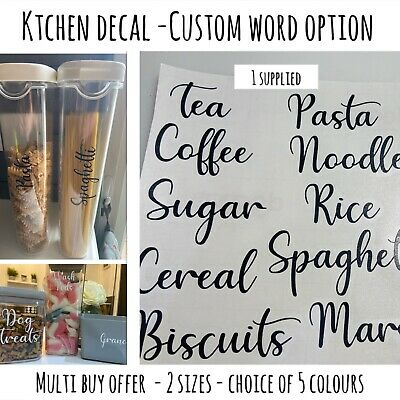 Kitchen Pantry VINYL DECALS For Jars / Containers -Stickers -labels - Mrs Hinch • 1.45£