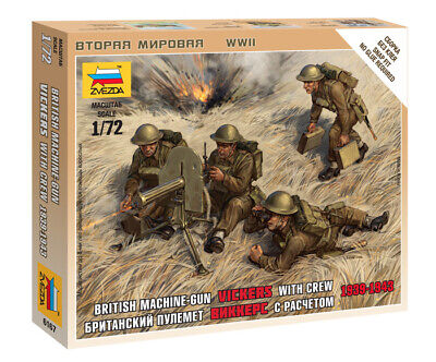 Zvezda 1/72 British Vickers Machine Gun With Crew 1939 - 1943 Z6167 • 4.95£