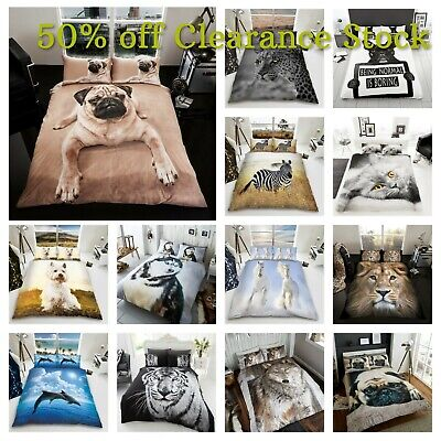 3D Animal Printed Duvet Cover Pillow Cases Quilt Bedding Set Single Double King • 17.85£