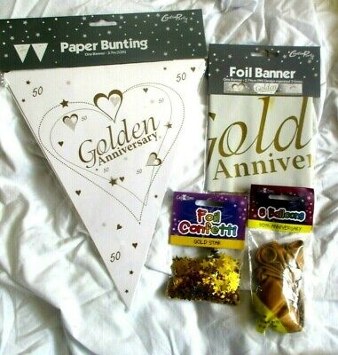 Golden Wedding Bunting Banner Balloon Confetti Decoration Party 50th Anniversary • 2.49£