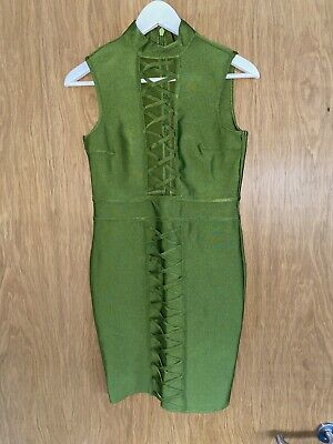 Womens Bodycon Dress Size 10 Green High Neck Low Cut Pretty Little Thing • 20£