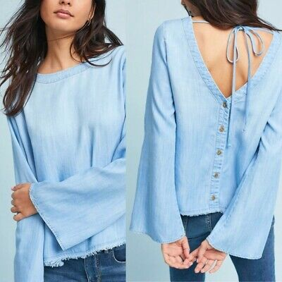 $ CDN78.93 • Buy NEW Cloth & Stone Anthropologie Button Back Chambray Top Tie Fringe Size XL