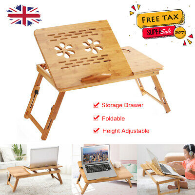 Bamboo Foldable Laptop Notebook Desk Table Tray Book PC Stand For Home Bed Sofa • 22.78£