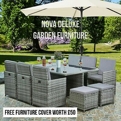 Rattan Brown Garden Dining Furniture Cube Set Sofa Chairs Table Outdoor Patio • 449£