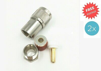 AU16.75 • Buy 2 X UHF PL259 Crimp Type Male Plug Connector Radio Antenna RG213 Coaxial Cable