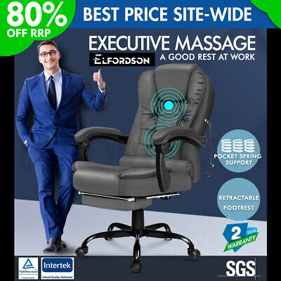 £109.95 • Buy ELFORDSON Massage Office Chair With Footrest Executive Gaming Seat PU Leather