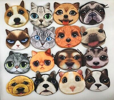 UK Listing 3D Cute Cat Dog Face   Purse Pouches Animal Coin Purse Zipper Wallet • 2.99£