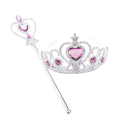 1Set Little Girls Princess Crown Wand Cosplay Tiara Wand Costume Accessory Pink • 3.45£