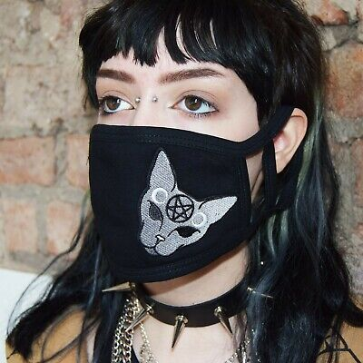 £5.95 • Buy Face Mask Gothic Cat -2 Size Loops Adult OR Child Pentagram Triple Moons Witchy